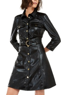 INC International Concepts I.n.c. Faux-Leather Snake-Embossed Shirtdress, Created For Macy's