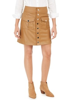 INC International Concepts Inc Faux-Leather Snap Mini Skirt, Created For Macy's
