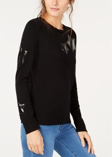 INC International Concepts I.n.c. Faux-Leather Star-Patch Sweater, Created for Macy's