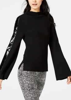INC International Concepts I.n.c. Faux-Leather Stripe Sweater, Created for Macy's
