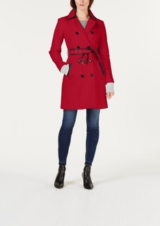 INC International Concepts I.n.c. Faux-Leather Trim Military Ponte-Knit Coat, Created for Macy's