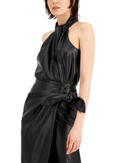 INC International Concepts Inc Faux-Leather Twist-Neck Top, Created for Macy's