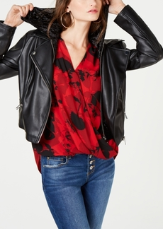 INC International Concepts I.n.c. Faux-Leather Velvet-Hoodie Moto Jacket, Created for Macy's