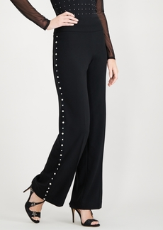 INC International Concepts I.n.c. Faux-Pearl Trim Wide-Leg Pants, Created for Macy's