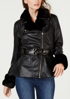 INC International Concepts I.n.c. Petite Faux-Shearling & Faux-Leather Aviator Jacket, Created for Macy's