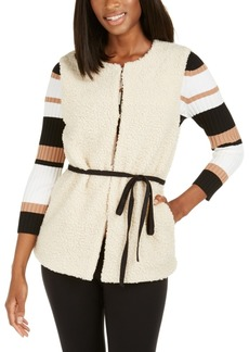 INC International Concepts Inc Faux-Shearling Duster With Sueded Belt, Created For Macy's