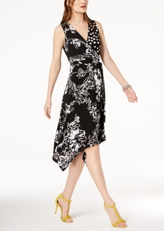 INC International Concepts I.n.c. Petite Mixed-Print Faux-Wrap Dress, Created for Macy's