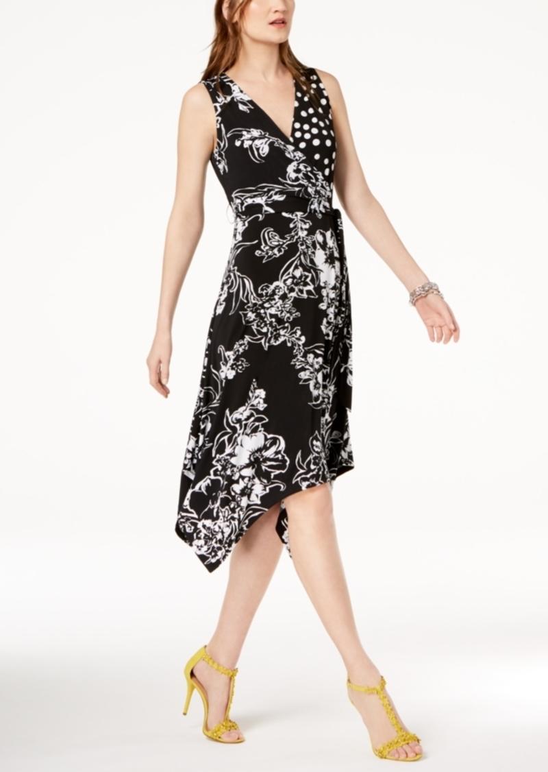 e996a7746 INC International Concepts I.n.c. Petite Mixed-Print Faux-Wrap Dress ...