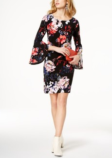 I.n.c. Petite Printed Bell-Sleeve Sheath Dress, Created for Macy's