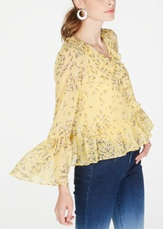 INC International Concepts Inc Floral-Print Bell-Sleeve Top, Created for Macy's