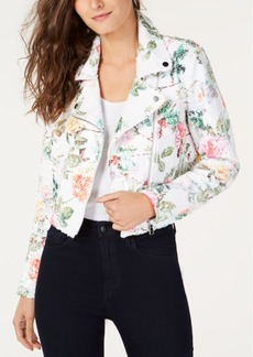 INC International Concepts I.n.c. Floral-Print Sequin Moto Jacket, Created for Macy's