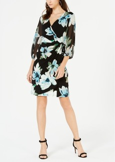 INC International Concepts I.n.c. Floral Woven Faux-Wrap Dress, Created for Macy's