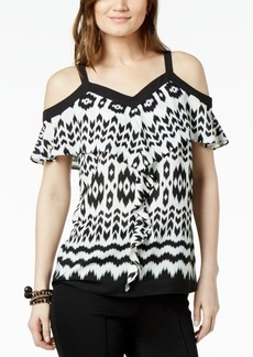 INC International Concepts I.n.c. Flounce-Trim Cold-Shoulder Top, Created for Macy's