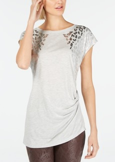 INC International Concepts Inc Foil Animal-Print T-Shirt, Created for Macy's