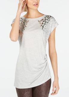 INC International Concepts Inc Foil Animal-Print T-Shirt, Created for Macy's