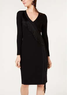 INC International Concepts I.n.c. Fringe-Wrap Sweater Dress, Created for Macy's