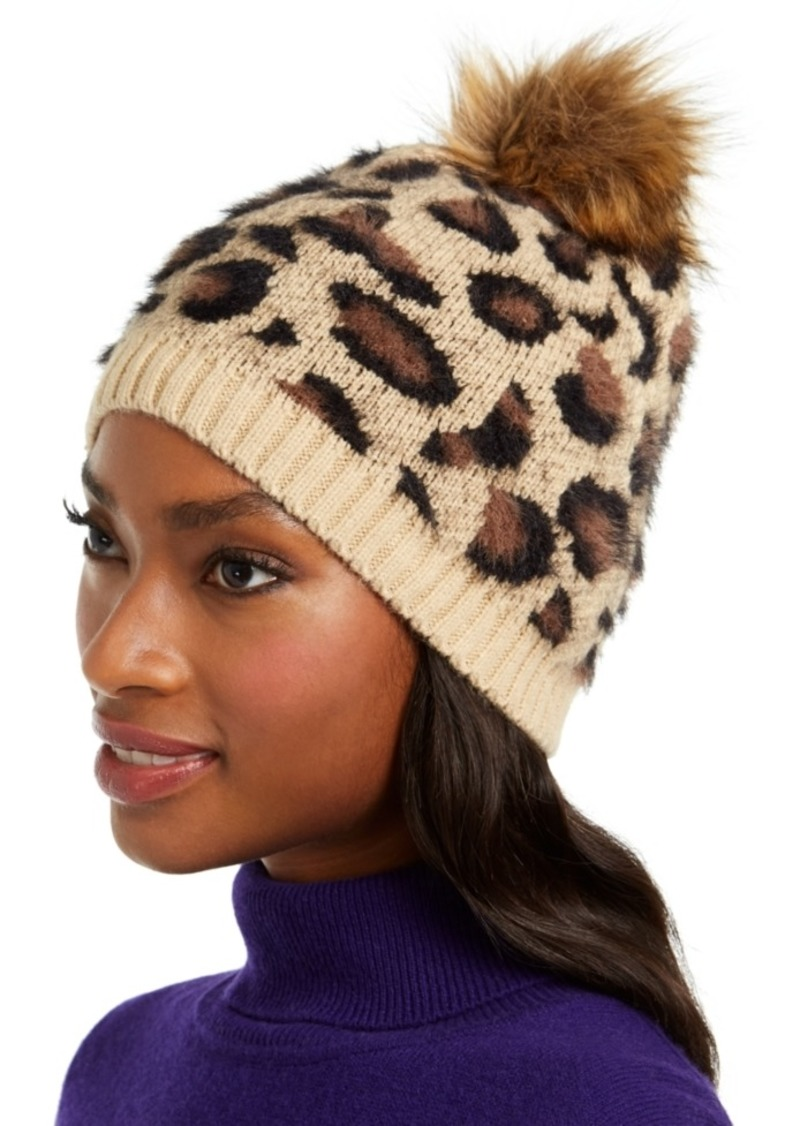 INC International Concepts Inc Fuzzy Animal-Print Beanie with Faux-Fur Pom, Created For Macy's