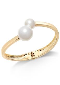 INC International Concepts Inc Gold-Tone & Imitation Pearl Bangle Bracelet, Created for Macy's