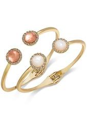 INC International Concepts I.n.c. Gold-Tone 2-Pc. Set Stone & Crystal Halo Hinged Bangle Bracelets, Created for Macy's