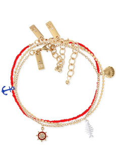 INC International Concepts Inc Gold-Tone 3-Pc. Set Nautical Charm Anklet, Created for Macy's