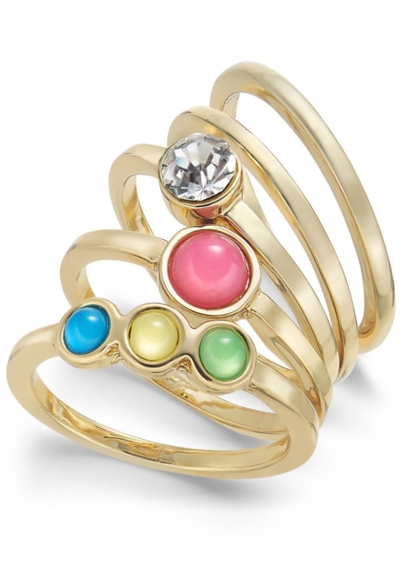 INC International Concepts Inc Gold-Tone 5-Pc. Set Crystal & Stone Stack Rings, Created for Macy's