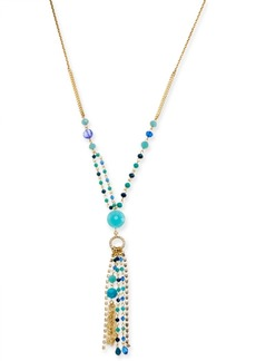 """INC International Concepts I.n.c. Gold-Tone Bead & Crystal Lariat Necklace, 28"""" + 3"""" extender, Created for Macy's"""