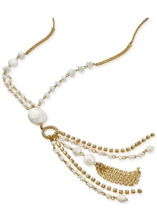 """INC International Concepts I.n.c. Gold-Tone Bead & Crystal Tassel Pendant Necklace, 28"""" + 3"""" extender, Created for Macy's"""