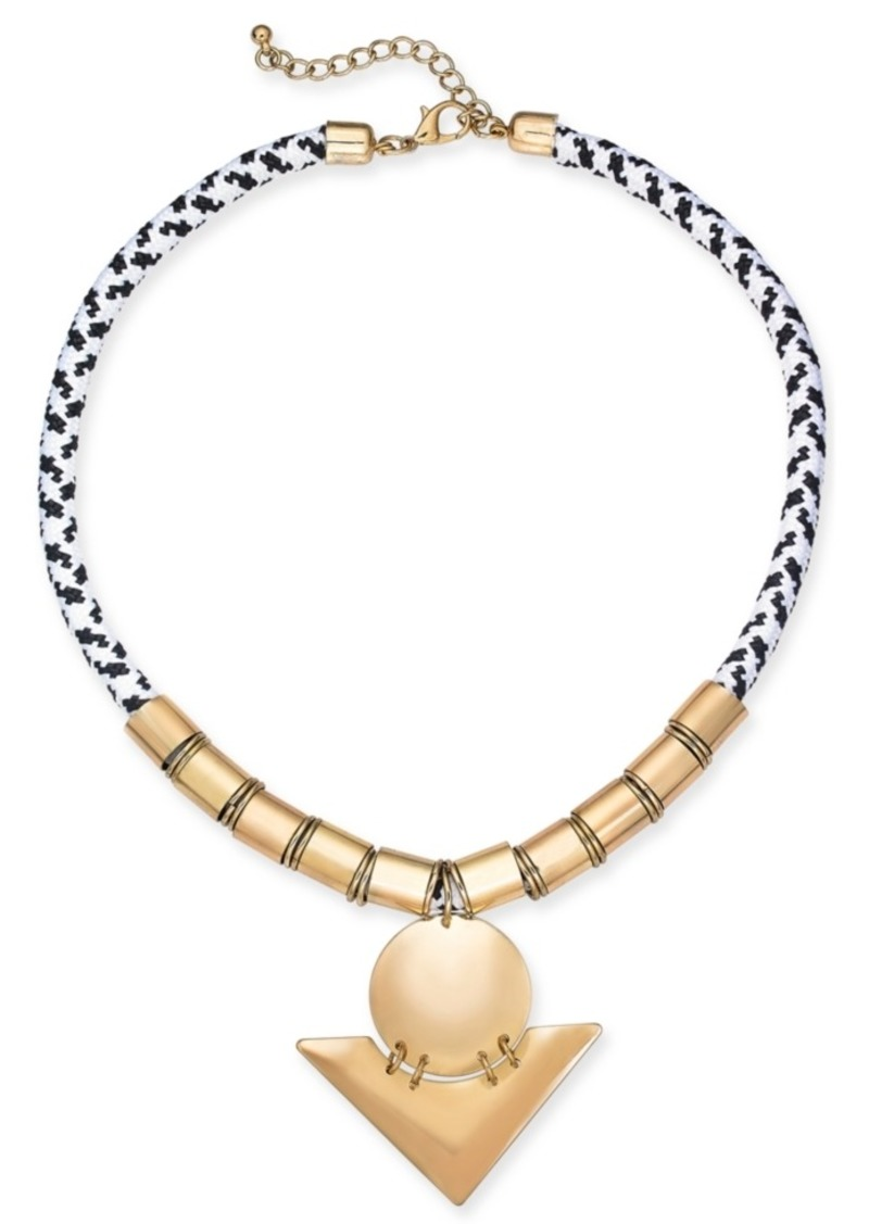 "INC International Concepts Inc Gold-Tone Bead & Rope Geometric Pendant Necklace, 17"" + 2-1/2"" extender, Created For Macy's"