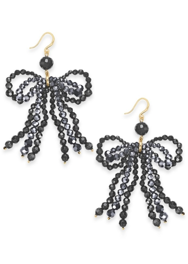 INC International Concepts Inc Gold-Tone Beaded Bow Chandelier Earrings, Created For Macy's