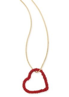 "INC International Concepts Inc Gold-Tone Beaded Heart Pendant Necklace, 34"" + 3"" extender, Created For Macy's"