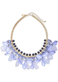 """INC International Concepts I.n.c. Gold-Tone Blue Petal Statement Necklace, 17"""" + 3"""" Extender, Created for Macy's"""