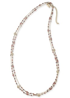 """INC International Concepts Inc Gold-Tone Crystal & Bead Double-Row Station Necklace, 60"""" + 3"""" extender, Created for Macy's"""