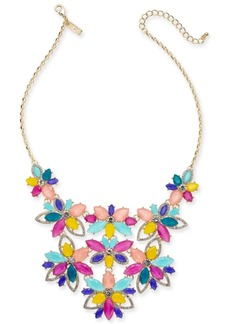"""INC International Concepts I.n.c. Gold-Tone Crystal & Stone Flower Statement Necklace, 17"""" + 3"""" extender, Created for Macy's"""