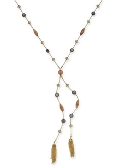 """INC International Concepts I.n.c. Gold-Tone Crystal, Bead & Chain Tassel Lariat Necklace, 28"""" + 3"""" extender, Created for Macy's"""