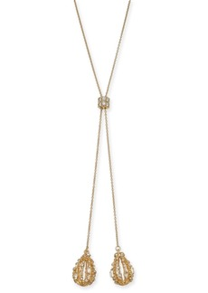 """INC International Concepts Inc Gold-Tone Crystal Bulb 40"""" Adjustable Lariat Necklace, Created For Macy's"""