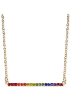"""INC International Concepts I.n.c. Gold-Tone Crystal Rainbow Horizontal Bar Pendant Necklace, 16"""" + 3"""" extender, Created for Macy's"""