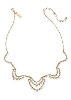 """INC International Concepts I.n.c. Gold-Tone Crystal Scallop Statement Necklace, 16"""" + 3"""" extender, Created for Macy's"""