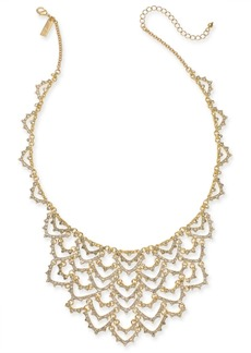 """INC International Concepts Inc Gold-Tone Crystal Scalloped Statement Necklace, 18"""" + 3"""" extender, Created for Macy's"""