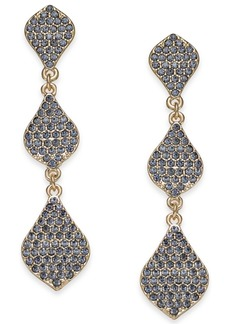 INC International Concepts Inc Gold-Tone Crystal Triple Drop Earrings, Created for Macy's