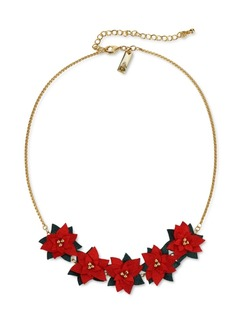 """INC International Concepts Inc Gold-Tone Fabric Poinsettia Statement Necklace, 18"""" + 3"""" extender, Created for Macy's"""