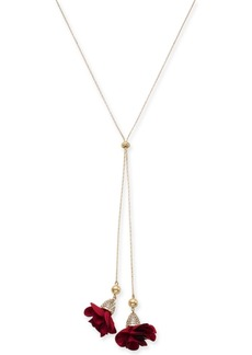 """INC International Concepts Inc Fabric-Flower 37"""" Lariat Necklace, Created for Macy's"""