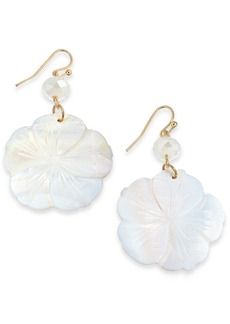 INC International Concepts Inc Gold-Tone Flower Shell Drop Earrings, Created For Macy's