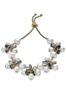 INC International Concepts Inc Gold-Tone Imitation Pearl & Resin Disc Slider Bracelet, Created For Macy's