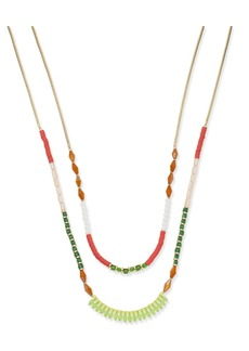 """INC International Concepts I.n.c. Gold-Tone Multi-Bead Double Row Necklace, 18"""" + 3"""" extender, Created for Macy's"""