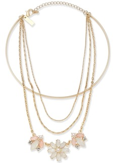 """INC International Concepts I.n.c. Gold-Tone Multi-Chain Flower Choker Necklace, 12"""" + 1"""" extender, Created for Macy's"""