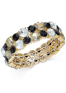 INC International Concepts Inc Gold-Tone Multi-Stone Stretch Bracelet, Created For Macy's