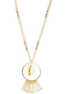 """INC International Concepts I.n.c. Gold-Tone Multicolor Bead & Shell Long Pendant Necklace, 32"""" + 3"""" extender, Created for Macy's"""