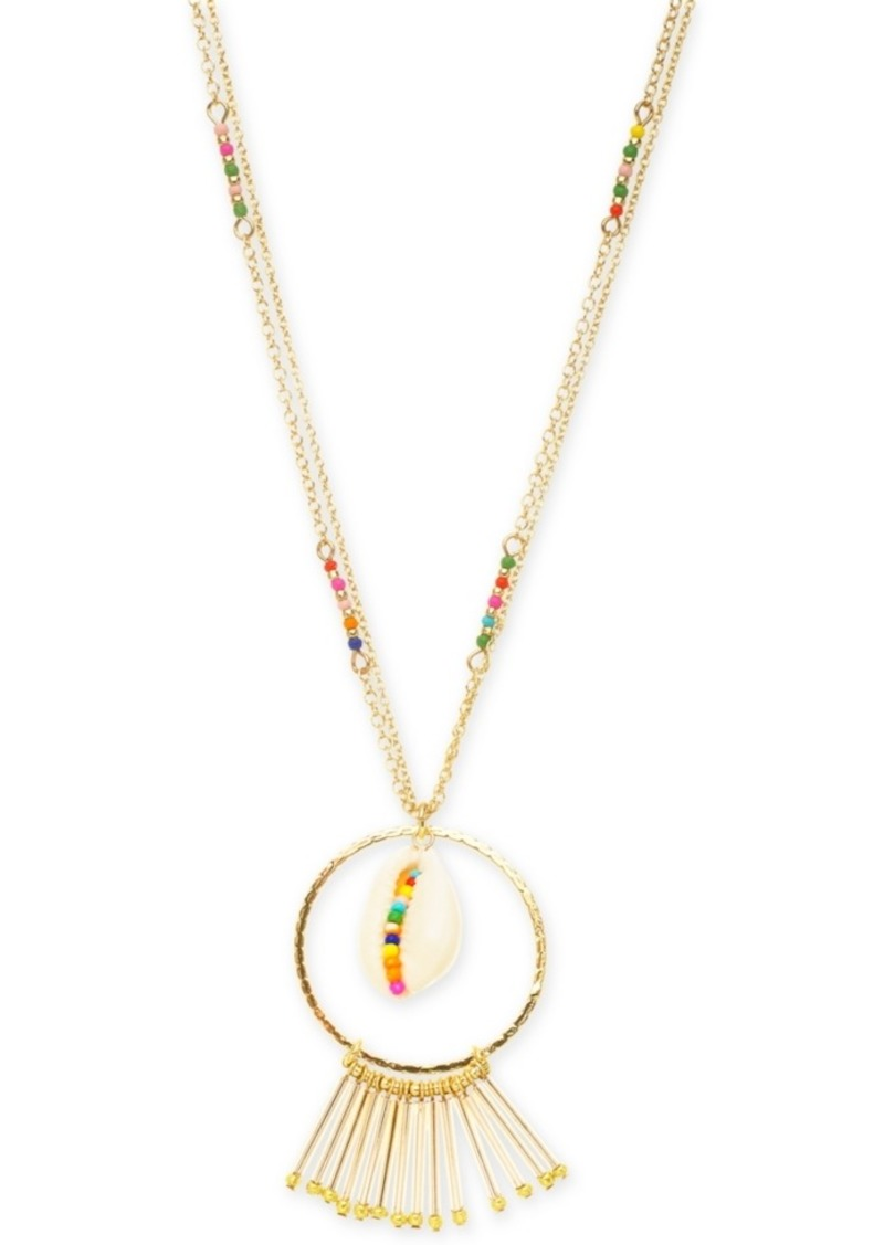 I.n.c. Gold-Tone Multicolor Bead & Shell Long Pendant Necklace, 32