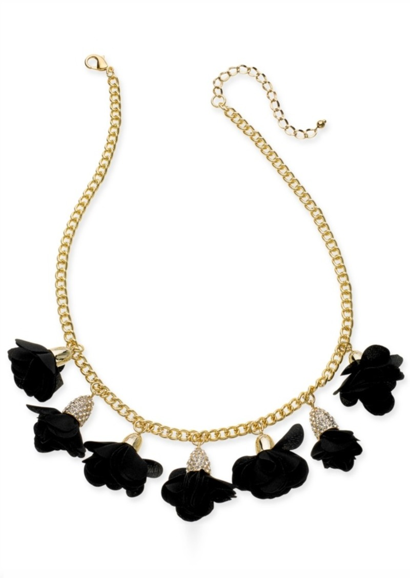 "INC International Concepts Inc Gold-Tone or Rose-Gold Tone Fabric Flower Statement Necklace, 16"" + 3"" Extender, Created for Macy's"