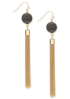 INC International Concepts Inc Gold-Tone Pave Ball & Tassel Drop Earrings, Created for Macy's